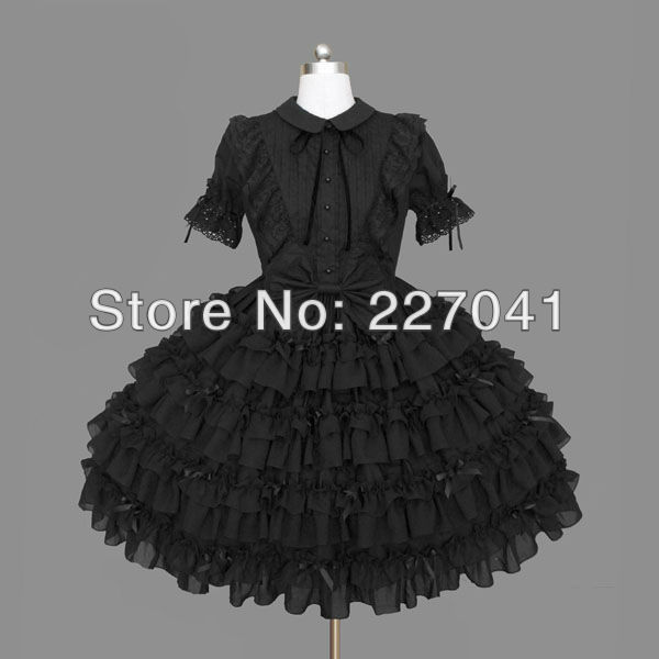 Japanese Girl Lolita anime Halloween black cosplay costume dress Free Shipping A0145