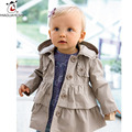 Retail Baby Girls Winter Coat  Autumn Newborn Girls Trench Coat Long Sleeve Hooded Girls Dress Top Warm Child Tracksuits