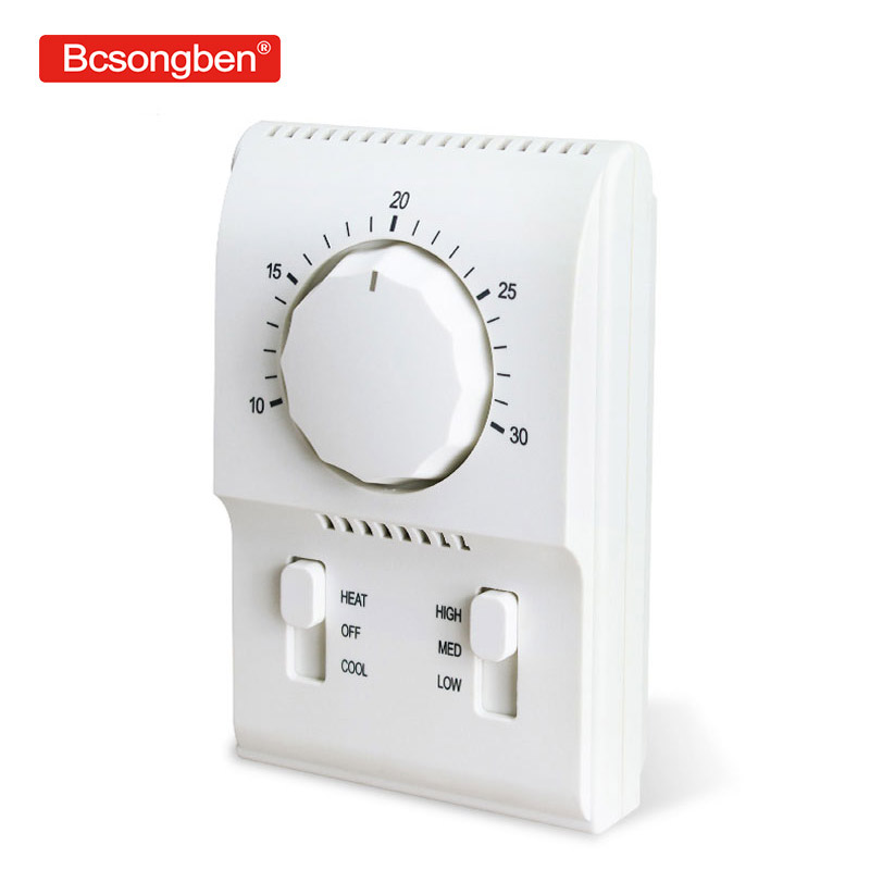 BC108A mechanical knob thermostat central air conditioning fan coil control switch panel new original authentic tf228wn central air conditioning fan coil thermostat large lcd digital panel