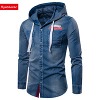 Hyweacvar Men S Denim Hooded Shirt Graphic Casual Spring Autumn Long Sleeve Shirt Asia Size M