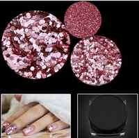 hot sale 3jars/lot ROSE Pink Glitter Dust for Nail Art and DIY Supplies size 1/128 (0.2mm) 2017 Nail Trendy rose rose gold
