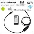 Wifi android iphone cámara endoscopio 8mm lente 1 m 2 m 3.5 m 5 m tubo impermeable de la serpiente pipe 720 p iphone cámara del endoscopio del animascopio