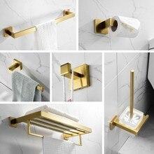 Набор золотых аксессуаров для ванной комнаты 304, держатель для туалетной бумаги из нержавеющей стали, держатель для туалетной щетки, Настенный Матовый держатель для ванной комнаты