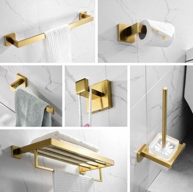 Altın Banyo Aksesuarları Seti 304 paslanmaz çelik tuvalet kağıdı tutucusu Tuvalet Fırçası Tutucu Duvara Monte Fırçalanmış Banyo Donanım