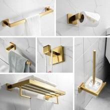 Juego de accesorios de baño dorados, soporte de papel higiénico de acero inoxidable 304, soporte de cepillo para inodoro, accesorios de baño cepillados montados en la pared