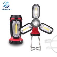 Linterna LED de trabajo COB recargable multifunción, luz de Camping, 6 modos de iluminación, lámpara elegante Deformable con cable USB
