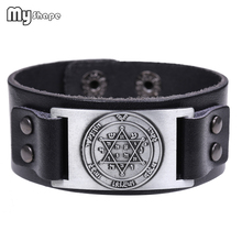 My Shape Viking Genuine Leather Bracelet The Greater Key of Solomon Pentacle Juptier Braclet Antique Sliver Bangle Men Jewelry