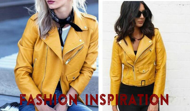HTB18JeNBZuYBuNkSmRyq6AA3pXaM 2019 Spring Bright Yellow Women PU Leather Jackets Zipper Leather Coat Turn-down Collar Female PU Jackets Pink Black Color