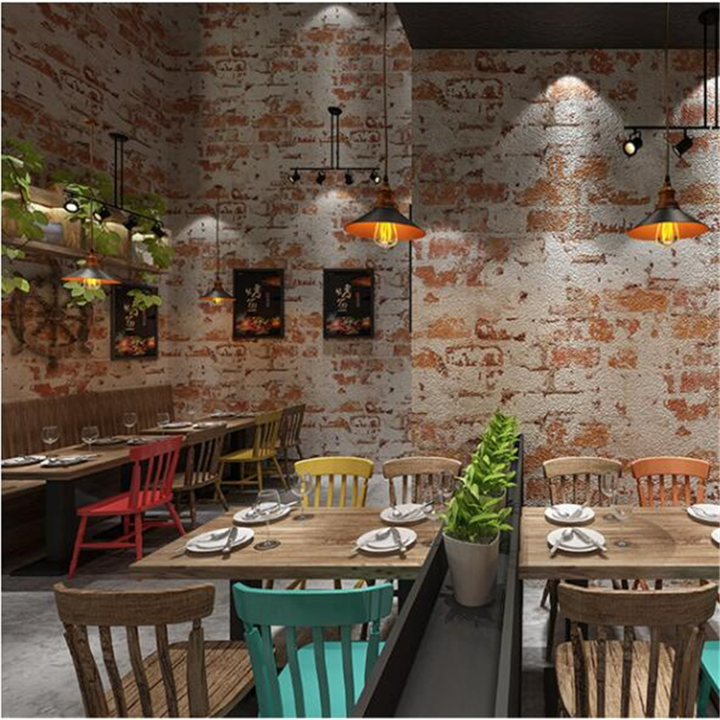 beibehang High-end Retro nostalgic industrial wind brick wallpaper antique restaurant background bar clothing store wallpaper цены