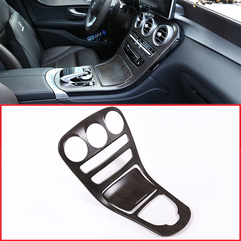 Oak Wood Style Center Console Gear Panel Frame Cover Trim Stickers For Mercedes Benz C GLC Class W205 2015-2017 Car Accessories yandex w205 amg style carbon fiber rear spoiler for benz w205 c200 c250 c300 c350 4door 2015 2016 2017