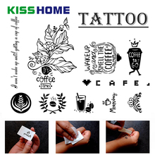 Cartoon Barista Temporary Tattoo Cute Pitcher Pour Over Coffee Pattern Sticker Art Waterproof Decoration Accessories