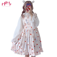 Women Loose Cotton Japanese Summer Dress Kawaii Casual Cute Cartoon Print Sleeveless Princess Party Dresses Ruffles Strap Dress