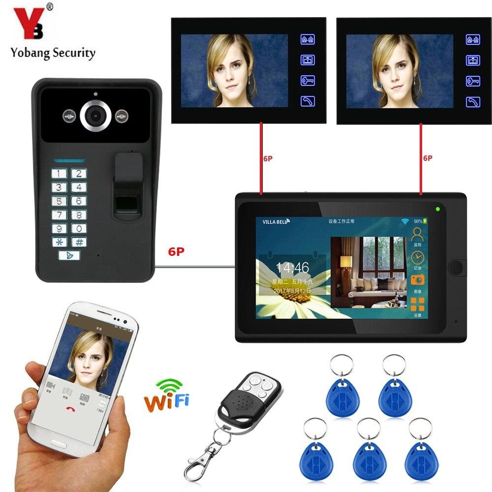 YobangSecurity 3X 7 Inch Monitor Wifi Wireless Video Door Phone Doorbell Camera Intercom System With Fingerprint RFID Password door intercom video cam doorbell door bell with 4 inch tft color monitor 1200tvl camera