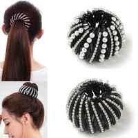 Mode cristal nid d'oiseau pinces à cheveux chapeaux femme cheveux élastique pour queue de cheval 1PC bigoudi rouleau chapeaux dispositif cheveux filles 4 couleurs