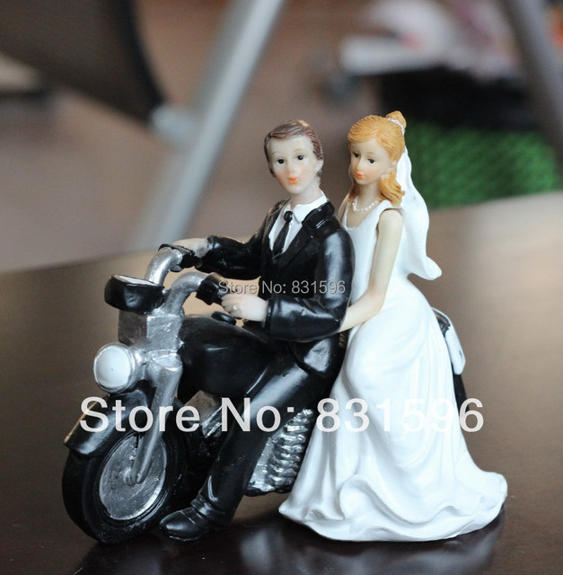 Bride Groom On Motorbike Wedding Cake Topper For Favors Gifts Party