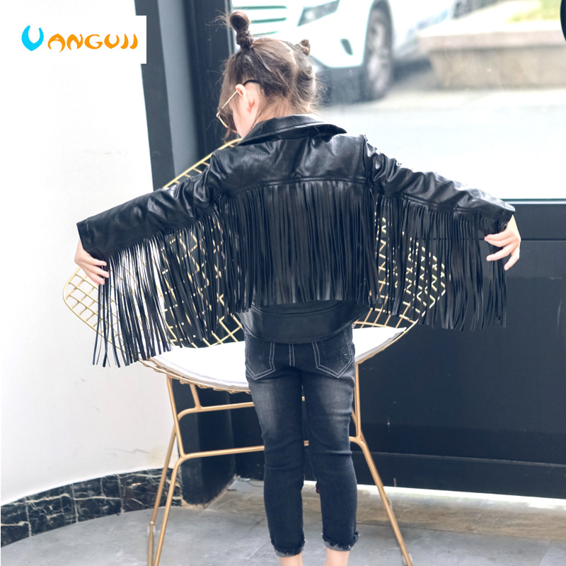 children PU jacket girl fashion leather 2-7 year old lapel tassel motorcycle leather jacket spring autumn low price promotion