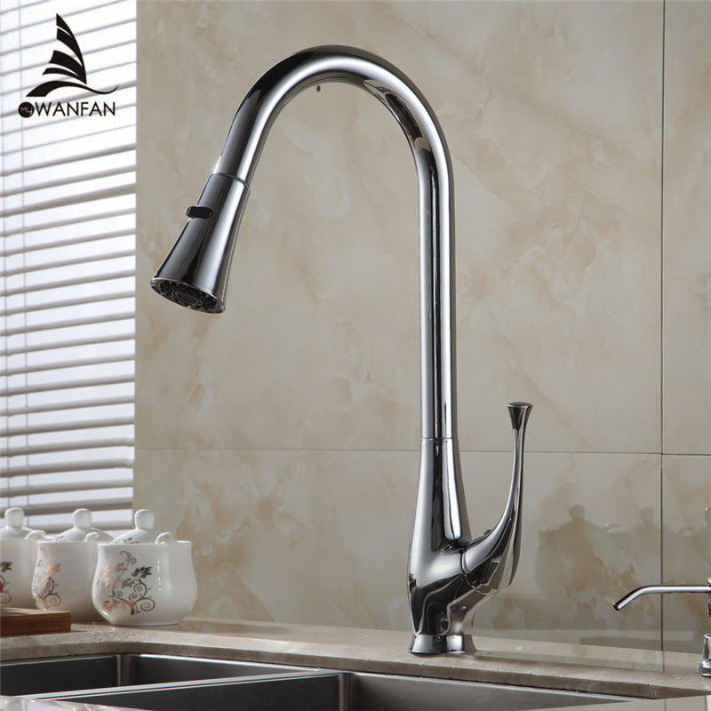Kitchen Faucet 360 Rotate Swivel Pull Out Spray Brass Chrome Silver Kitchen Sink Faucet Single Lever Vanity Mixer Taps 408907 new design pull out kitchen faucet chrome 360 degree swivel kitchen sink faucet mixer tap kitchen faucet vanity faucet cozinha