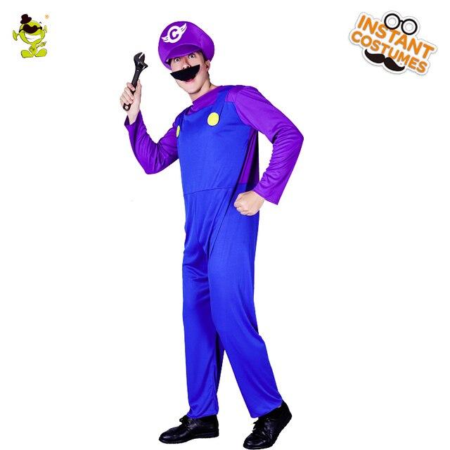 Hot Sale Waluigi Costume Cosplay Mascot Mario Brother Movie Purple  Green  Jumpsuit Masquerade Waluigi Clothes Carnival Party 3ea95b983