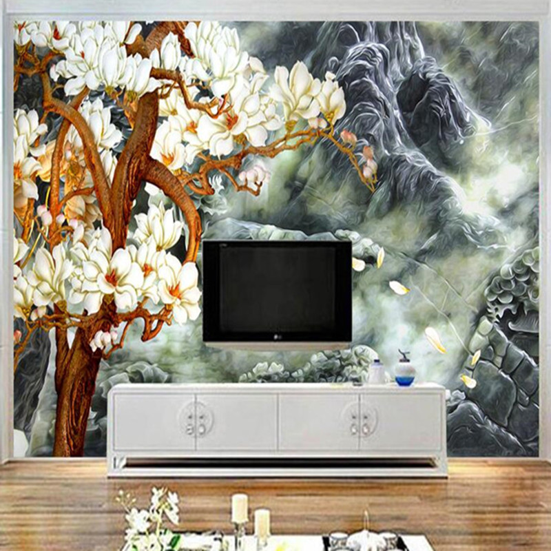 Custom Mural 3D Colorful Magnolia Tree Wallpaper for Walls 3D Abstract Art Mountain Wall Covering Living Room Bedroom Home Decor custom baby wallpaper snow white and the seven dwarfs bedroom for the children s room mural backdrop stereoscopic 3d