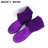 O Envio gratuito de Mulheres Moda Genuínos Ankle Boots de Couro Mulheres Inverno Quente Botas Longas Cavaleiro Botas Tamanho 35 ~ 40