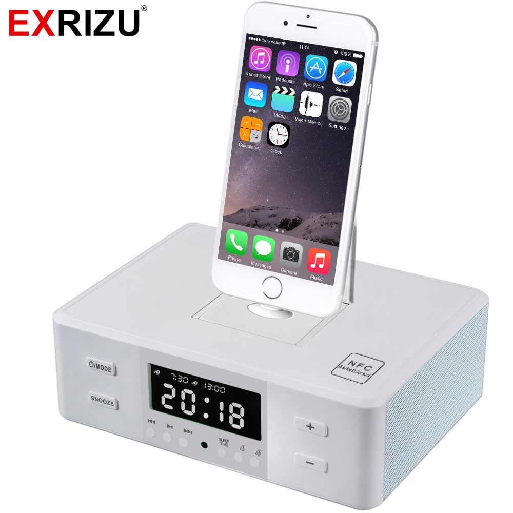 EXRIZU Bluetooth Speakers Portable Alarm Clock NFC FM Radio Type-C 8Pin Charger Dock Phone Station Speaker for iPhone 6 7 8 Plus 5pcs pocket radio 9k portable dsp fm mw sw receiver emergency radio digital alarm clock automatic search radio station y4408
