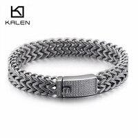KALEN 316 Stainless Steel Silver Link Chain Bracelets For Men Rhinestone Charm Trendy Mesh Chain Bracelets Male Birthday Gifts