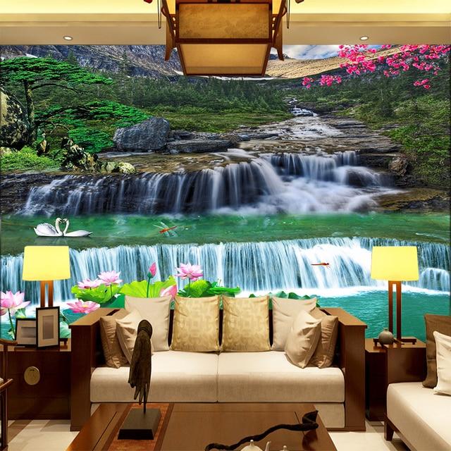 Personnalise 3d Photo Papier Peint Panoramique Cascade Foret