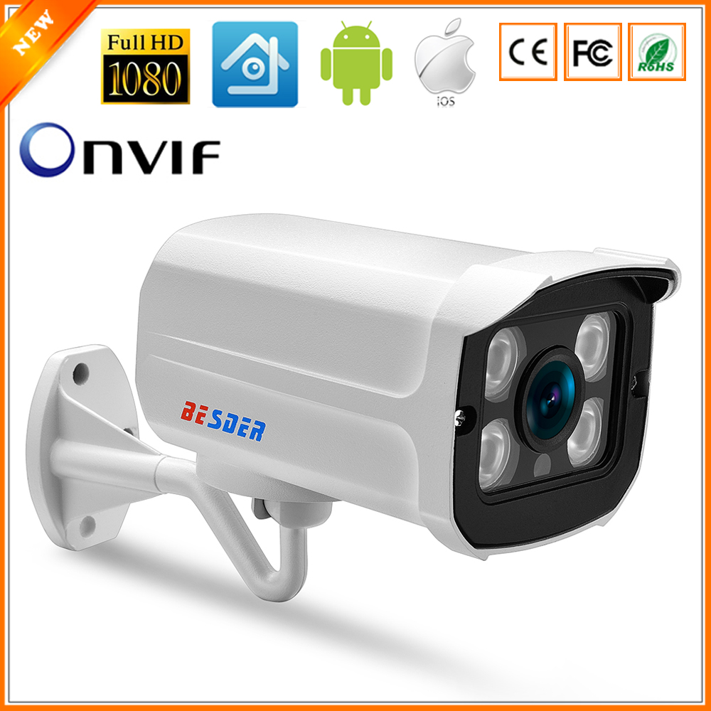 BESDER Wide Angle 2.8mm Outdoor IP Camera PoE 1080P 960P 720P Metal Case ONVIF Security Waterproof IP Camera CCTV 4PCS ARRAY LED(China)