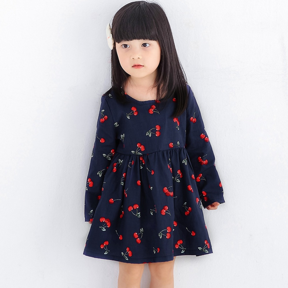 Fashion Floral Printed Girls Dresses Spring Autumn Long Sleeve Bow Princess Dress Cherry Print Casual Costume Kids Clothes fashion round collar long sleeves floral print women s mini dress
