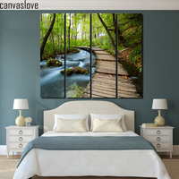 4 unidades Impresas primavera verde bosque río puente carteles e impresiones de Lienzo de Pintura De paisaje decoración Del hogar Del Envío libre/up-1307D