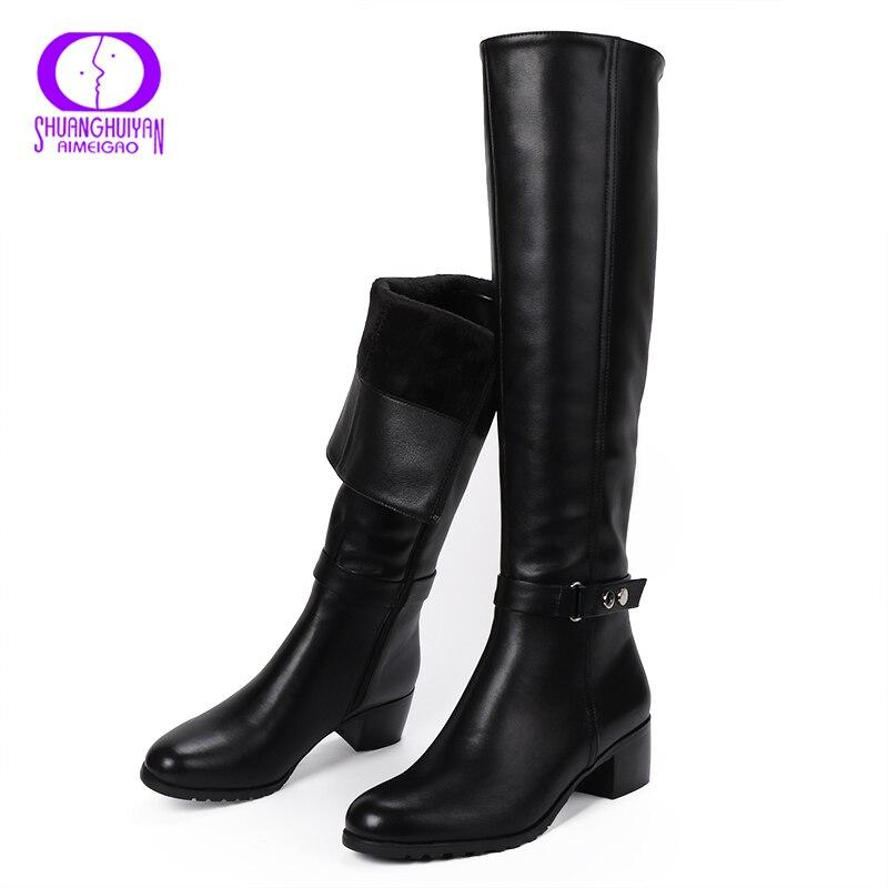 AIMEIGAO knee High Winter Fur Boots Over The Knee Women Boots Soft Leather Zipper Women Boots Thigh High Winter Warm Shoes