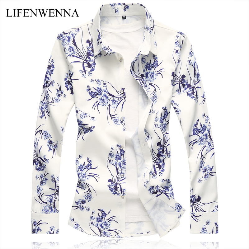 Autumn New Arrival Men's Shirt 2019 New Fashion Floral Print Long Sleeve Shirts Mens Clothing Trend Casual Flower Shirts Men 7XL