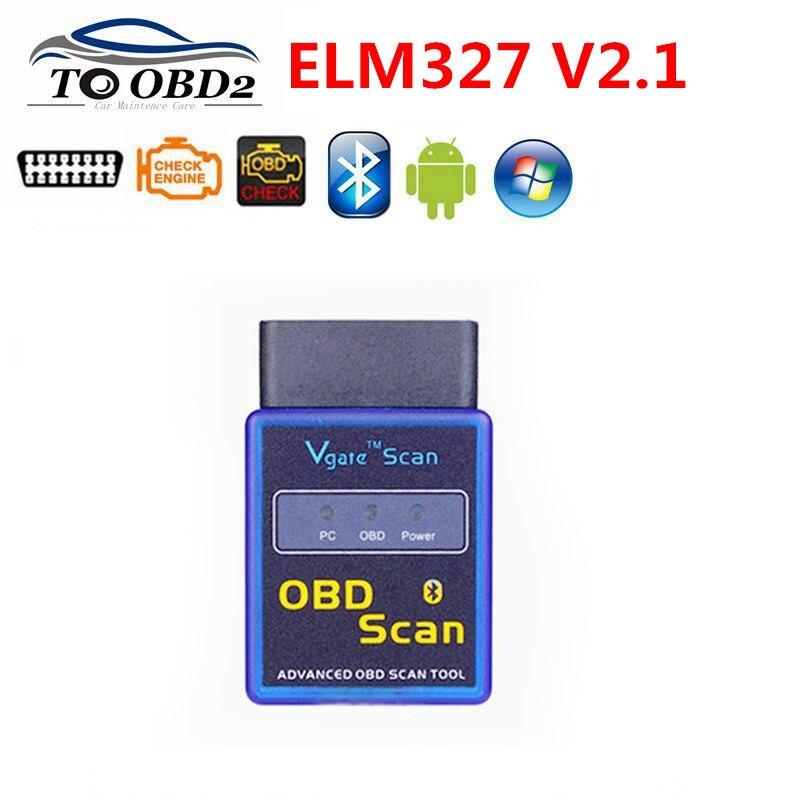 Free Ship Best Selling New MINI ELM 327 Bluetooth Vgate Scan OBD2 / Advanced Obd Scan OBDII ELM327 V2.1 Code Scanner
