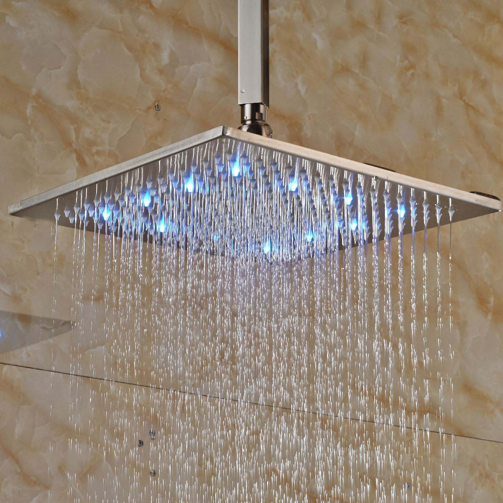 LED Square Ceiling Mounted 8 Rain Shower Head Top Over Head Sprayer rain siemer soovin sulle head