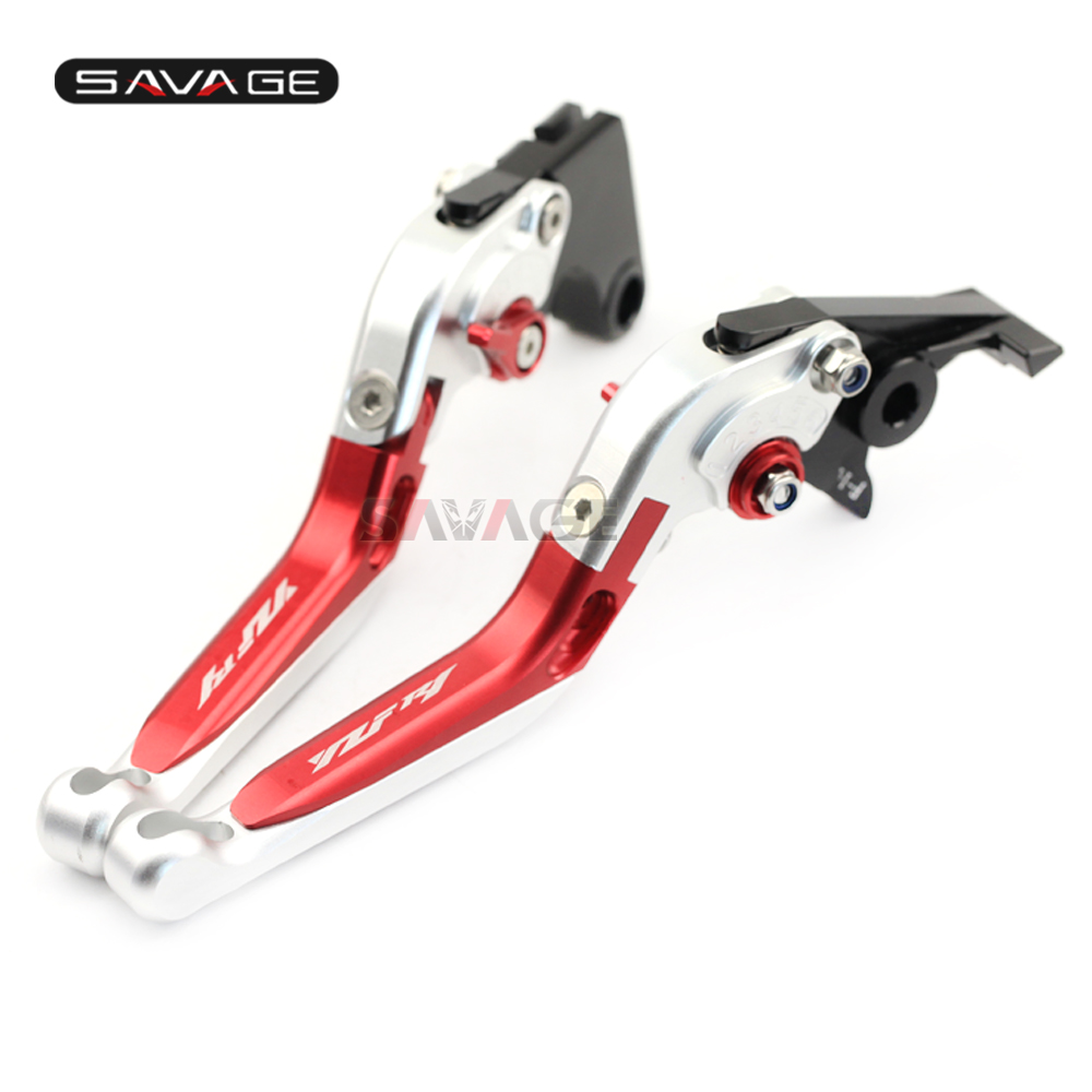 Brake Clutch Lever For YAMAHA YZFR1 YZF-R1 2002-2003 Red+Silver Motorcycle Adjustable Folding Extendable Logo YZF R1
