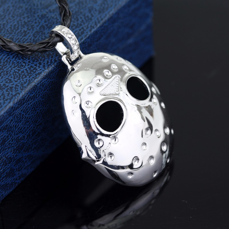 Hot Sale Friday The 13th Necklace Movie Character Jason Voorhees Silver Mask Pendant Black Friday Necklaces