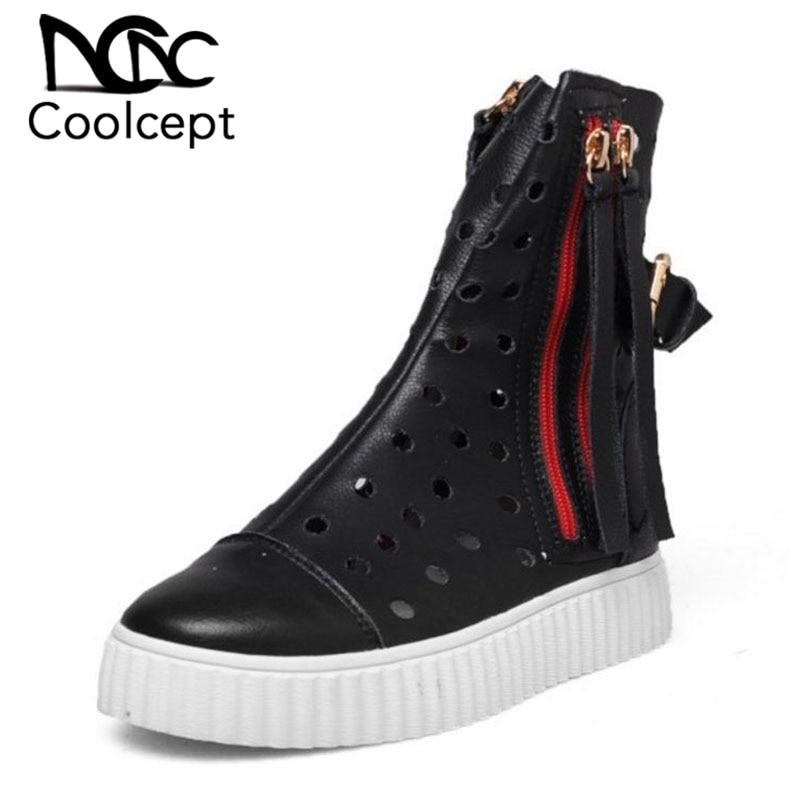 9bc15d4e9a7691 Nouveau En Printemps Bottes Gland Mode 2019 Rond Bout blanc Femmes Cuir 32  Taille Coolcept Véritable Noir Creux Chaussures ...