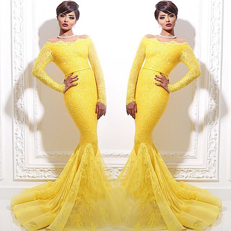 vestidos elegantes new dubai muslim middle east yellow evening gown ...