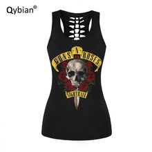 skull Printed womens Tank Tops Summer sleeveless T-shirt casual Tees Rose band print Tanks Back hollow out