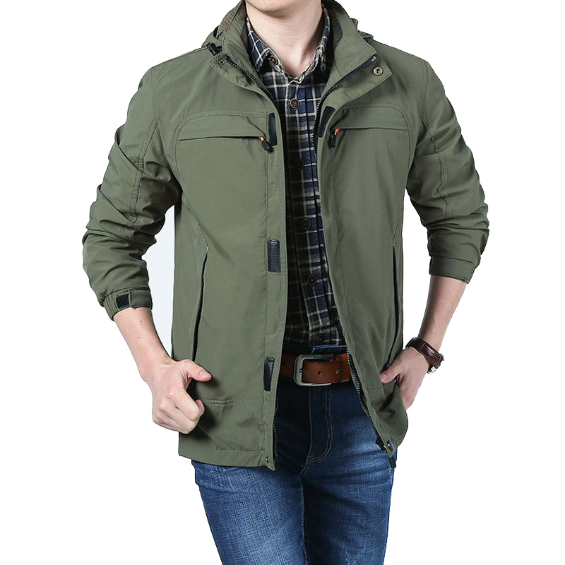 Afs Jeep 2017 Mens Spring Jacket Casual Windbreaker veste homme Hooded Collar Breathable Men Outerwear chaqueta hombre Coat Male monochrome