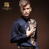FANZHUAN Men Shirt Luxury Brand 2017 Male Long Sleeve Shirts Casual Mens Spell Color Slim Fit