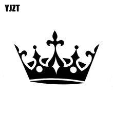 Yjzt 12.7cm * 8.1cm duplo redondo coroa vinil adesivo do carro decalques preto/prata C13-00024