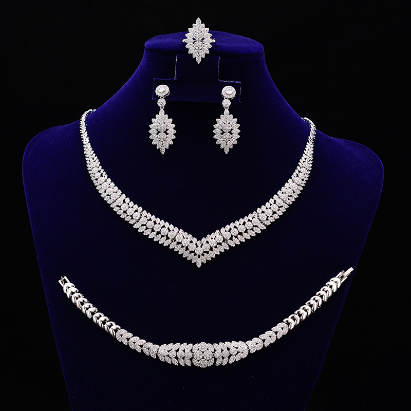 Jewelry Sets HADIYANA New Fashion Trendy Luxury Design Elegant For Women With Hign Quality CNY0025 Stainless
