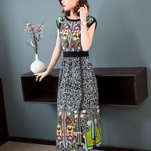 Fashion street hipster 2019 spring and summer new European American fashion print Slim temperament long womens dress