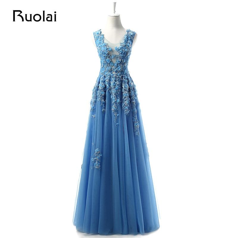 진짜 새로운 특종 소매 A 라인 Tulle 이브닝 드레스 Long Blue Appiques 구슬로 장식 드레싱 공식 댄스 파티 복장 이브닝 ASAE1