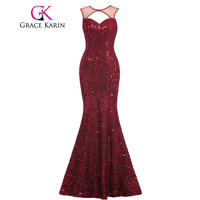 Grace Karin Elegant Mermaid Evening Dresses Long Backless Sequins Wine Red Evening Gowns Luxury Formal Dresses avondjurk GK00013