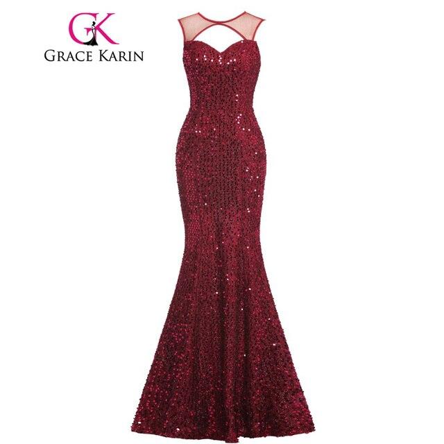 9d8d540514 Grace Karin Elegant Mermaid Evening Dresses Long Backless Sequins Wine Red  Evening Gowns Luxury Formal Dresses avondjurk GK00013-in Evening Dresses ...