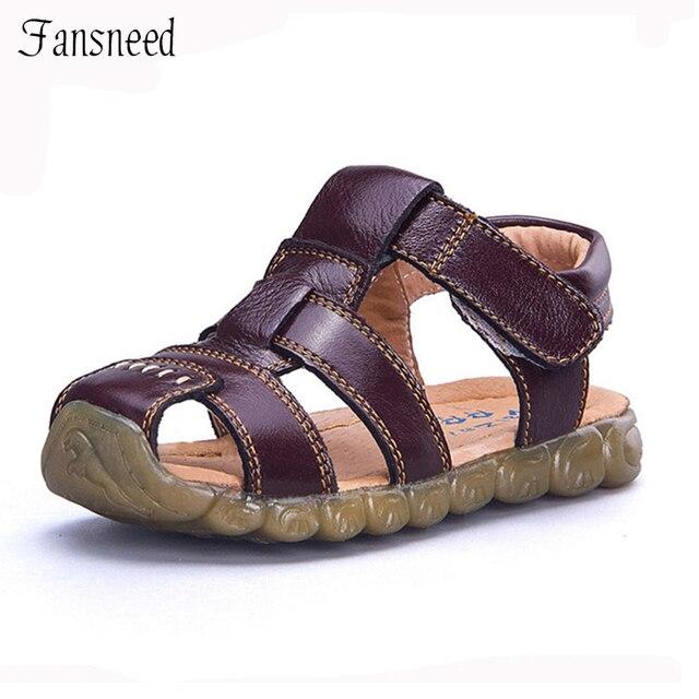 ילדי נעלי עור אמיתי עור פרה סנדלי חצי חור יחיד נעליים מזדמנים נוח קיץ זכר