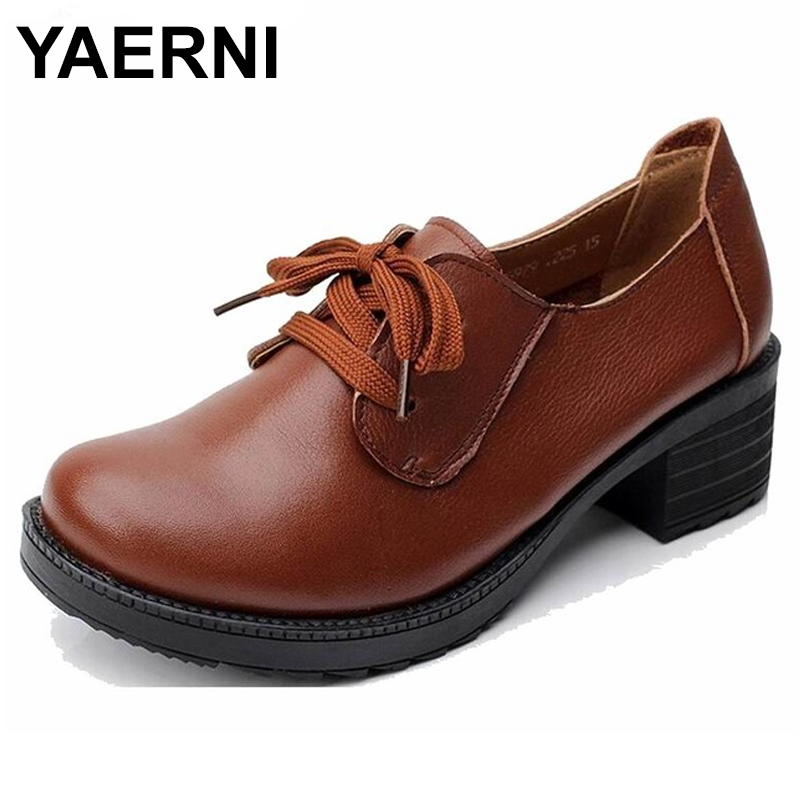 YAERNI Genuine Leather Platform Women Shoes Comfortable Lace up Spring Autumn Shoes Soft Leather Women Heels Shoes Big Size E486 aiyuqi big size 41 42 43 women s comfortable shoes 2018 new spring leather shoes dress professional work mother shoes women