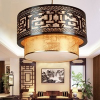A1 Chinese Style Retro Pendant Lights Wood Dining Room Restaurant Atmosphere Sheepskin Hotel Lobby Lamps Art